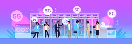 businesspeople discussing during meeting using 5G online wireless system connection fifth innovative generation of high speed internet concept data center interior full length horizontal vector illustration