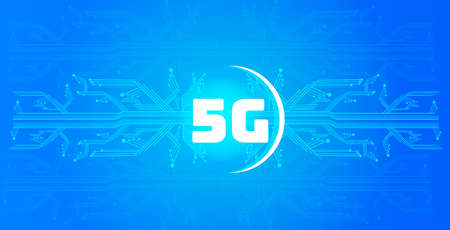 5G online communication network wireless systems connection concept fifth innovative generation of high speed internet circuit board background horizontal banner vector illustration