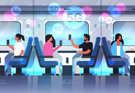 passengers using smartphones social network 5G online communication fifth innovative generation of internet connection modern train interior horizontal full length vector illustration Vectores