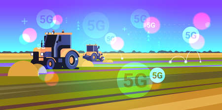 tractor plowing land 5G online wireless system connection heavy machinery working in field smart farming concept landscape background flat horizontal vector illustration