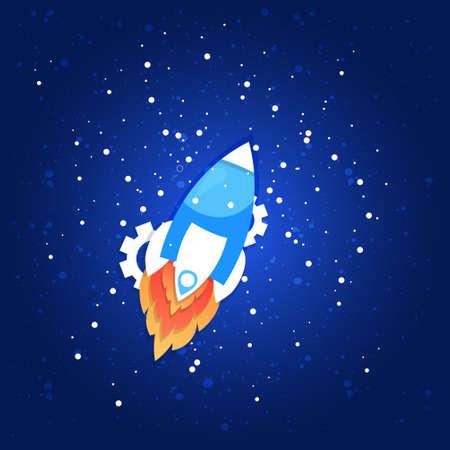 cohete espacial volando en el cielo lanzamiento a la ilustración de vector de concepto de luna