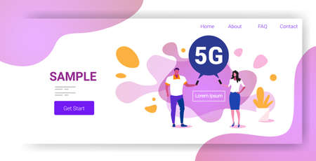 man woman using smartphones 5G online chat bubble communication fifth innovative generation of internet connection concept modern abstract background full length horizontal copy space vector illustration