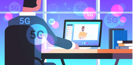 businessman making video call with guy social network communication 5G online wireless system connection concept business man sitting at workplace using laptop portrait rear view horizontal vector illustration