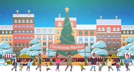 Weihnachtsmarkt oder Feiertagsmesse im Freien mit dekorierten Tannenbaum-Mix-Rennen Menschen, die in der Nähe von Ständen spazieren Frohe Weihnachten Neujahr Winterferien Feierkonzept modernes Stadtbild Hintergrund horizontale Vektorillustration Vektorgrafik