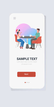 couple sitting at cafe table drinking coffee and discussing during meeting merry christmas happy new year holidays concept smartphone screen online mobile app full length vector illustration
