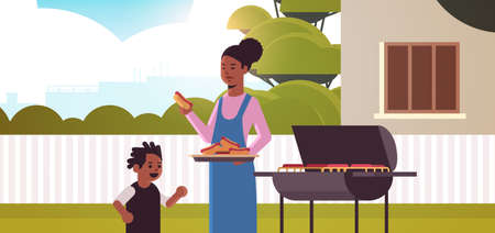 mother and son preparing hot dogs on grill happy african american family having fun backyard picnic barbecue party concept flat portrait horizontal vector illustration