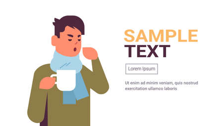 sick man having sneeze drinking hot tea unhealthy guy in scarf suffering from cold flu virus illness concept flat portrait copy space horizontal vector illustration