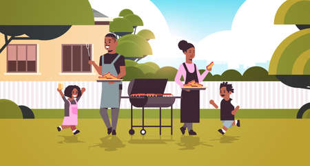family preparing hot dogs on grill african american parents and children having fun backyard picnic barbecue party concept flat full length horizontal vector illustration