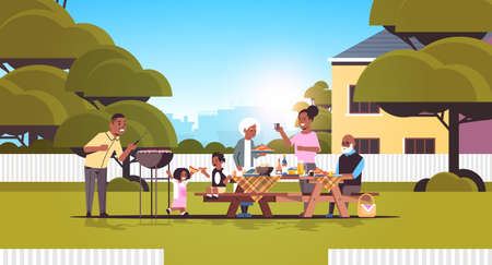 multi generation family preparing hot dogs on grill african american grandparents parents and children having fun backyard picnic barbecue party concept flat full length horizontal vector illustration
