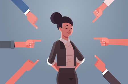 depressed businesswoman being bullied surrounded by hands fingers mocking her peer violence bullying social anxiety concept flat portrait horizontal vector illustration Иллюстрация