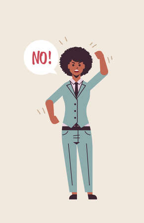 angry unhappy woman saying NO speech balloon with NO scream exclamation negation concept furious screaming african american girl raising hand flat full length vertical vector illustration
