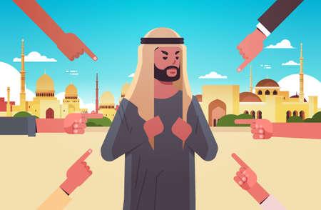 przygnębiony arabski mężczyzna jest zastraszany otoczony rękami palce szydząc z niego przemoc rówieśnicza zastraszanie niepokój społeczny koncepcja muzułmański pejzaż tło płaski portret poziomy ilustracja wektorowa