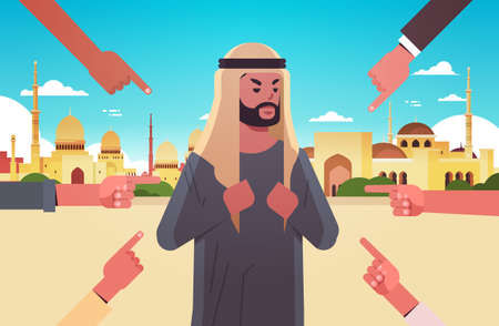 depressed arab man being bullied surrounded by hands fingers mocking him peer violence bullying social anxiety concept muslim cityscape background flat portrait horizontal vector illustration
