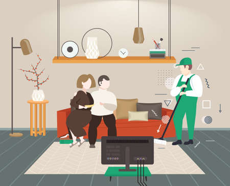 couple sitting on sofa man cleaner washing floor with mop male janitor in uniform mopping cleaning service concept modern living room interior horizontal full length sketch vector illustration