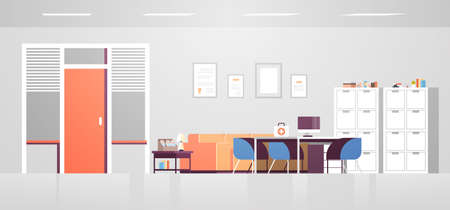 modern doctor cabinet with furniture empty no people hospital office room interior flat horizontal vector illustration