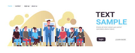 steward explaining for mix race passengers how to use seat belt fastening flight attendant in uniform safety demonstration concept airplane board interior horizontal copy space vector illustration Vettoriali