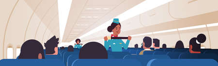 stewardess explaining passengers how to use seat belt fastening in emergency situation african american flight attendants in uniform safety demonstration concept airplane board interior horizontal vector illustration
