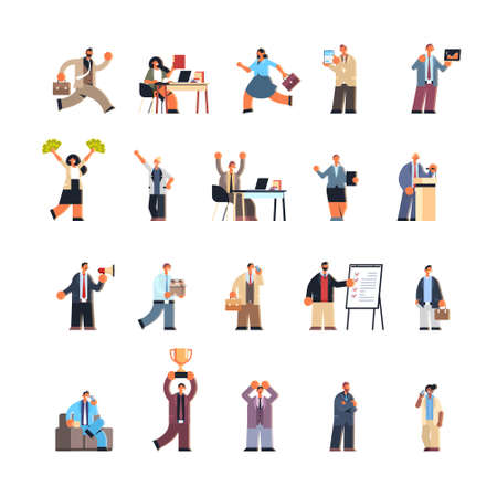 set business people in different working situations business men women team male female office workers collection flat full length vector illustration