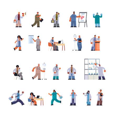 doctors in uniform different clinic hospital workers set medicine healthcare concept full length flat vector illustration Vecteurs