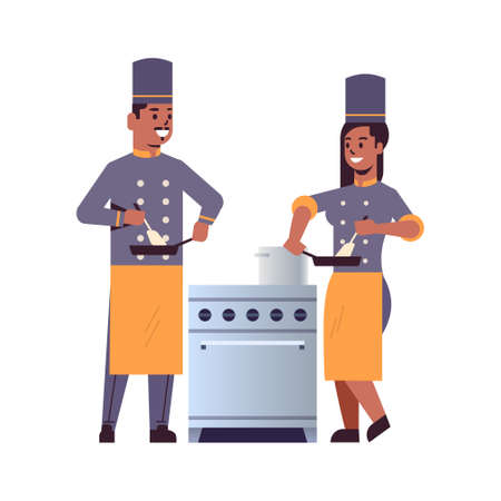 cooks couple professional chefs using frying pan stirring food african american man woman restaurant kitchen workers in uniform standing together near stove cooking concept flat full length vector illustration