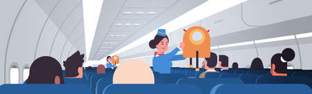 stewardess explaining for passengers how to use jacket life vest in emergency situation female flight attendants safety demonstration concept modern airplane board interior horizontal portrait vector illustration.