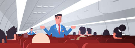 steward explaining instructions for passengers male flight attendants in uniform showing emergency exits safety demonstration concept airplane board interior horizontal vector illustration