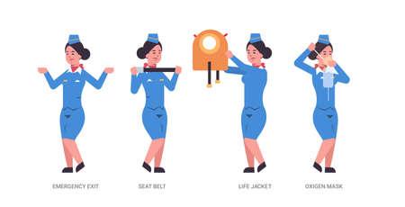 impostare la guida dall'hostess che spiega le istruzioni con l'uscita di emergenza della cintura di sicurezza del giubbotto di salvataggio e l'assistente di volo della maschera di ossigeno in uniforme il concetto di dimostrazione di sicurezza orizzontale illustrazione vettoriale a lunghezza intera