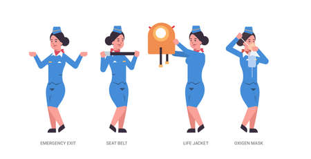 set guidance from stewardess explaining instructions with life vest seat belt emergency exit and oxygen mask flight attendant in uniform safety demonstration concept horizontal full length vector illustration
