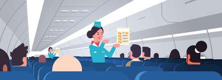 stewardess explaining for passengers instructions card female flight attendants safety demonstration concept modern airplane board interior horizontal portrait vector illustration Stock Illustratie