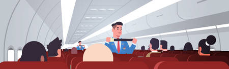 steward explaining passengers how to use seat belt fastening in emergency situation male flight attendants in uniform safety demonstration concept airplane board interior horizontal vector illustration.