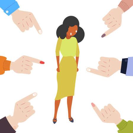 Empresaria deprimida siendo intimidada rodeada de dedos apuntando a la víctima de violencia de niña afroamericana de intimidación burlándose de la desaprobación pública concepto de chivo expiatorio ilustración vectorial de longitud completa Ilustración de vector