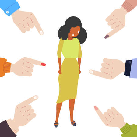 depressed businesswoman being bullied surrounded by fingers pointing on african american girl violence victim of bullying mocking public disapproval scapegoat concept full length vector illustration