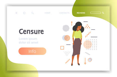 depressed businesswoman being bullied upset african american girl violence victim of bullying mocking public disapproval scapegoat censure concept full length horizontal copy space vector illustration Illustration