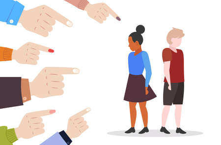 depressed children being bullied surrounded by schoolmates fingers pointing on mix race girl and boy peer violence victim of bullying mocking public disapproval concept full length vector illustration Illustration