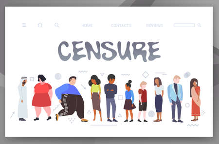 depressed people being bullied upset mix race men women group violence victim of bullying mocking public disapproval censure concept full length horizontal copy space vector illustration