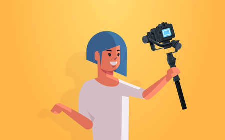 woman blogger holding stabilizer with camera live streaming broadcast social media networking concept streamer recording video taking selfie photo portrait horizontal vector illustration