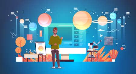 teacher blogger recording online video solar system exploration astronomy lesson blogging concept man giving educational training full length horizontal vector illustration