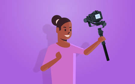 woman blogger holding stabilizer with camera live streaming broadcast social media networking concept african american streamer recording video portrait horizontal vector illustration
