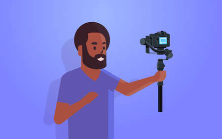 man blogger holding stabilizer with camera live streaming broadcast social media networking concept african american streamer recording video taking selfie photo portrait horizontal vector illustration