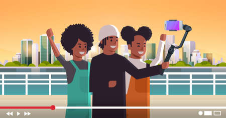 peope using selfie stick stabilizer african american travelers taking selfie photo on smartphone camera blogging shooting vlog concept modern cityscape background portrait horizontal vector illustration