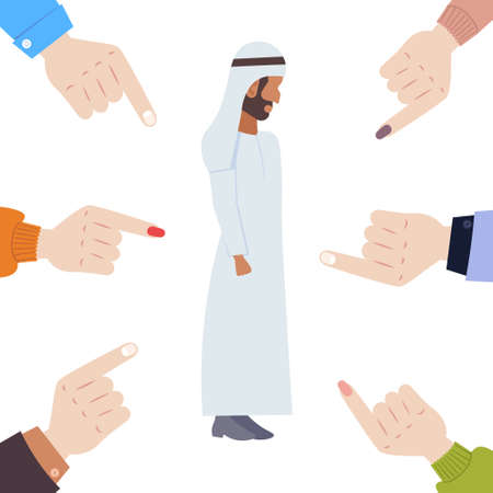 depressed arabian man being bullied surrounded by hands fingers pointing on upset male character in traditional clothes violence victim of bullying mocking public disapproval concept full length vector illustration Ilustração