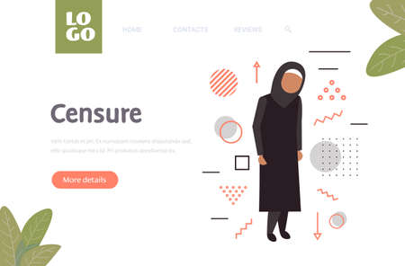 depressed arabian woman being bullied victim of bullying mocking public censure negative emotions religious Islam lifestyle concept full length horizontal copy space vector illustration