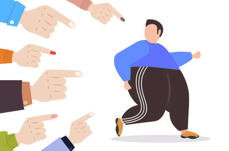 depressed overweight man being bullied surrounded by fingers pointing on upset fat male character peer violence victim of bullying mocking public disapproval concept full length horizontal vector illustration