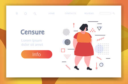 depressed overweight woman being bullied upset fat female character peer violence victim of bullying mocking public disapproval censure concept full length horizontal copy space vector illustration