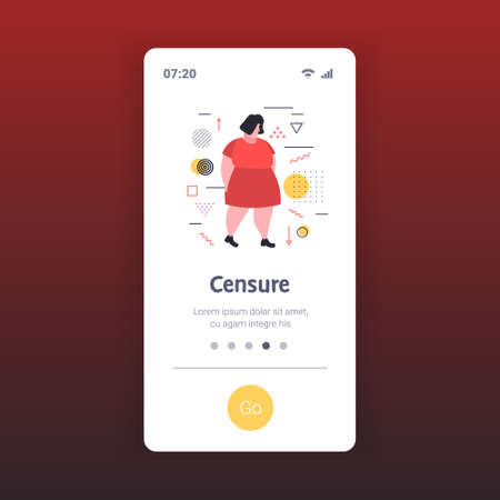 depressed overweight woman being bullied upset fat female character peer violence victim of bullying mocking public disapproval censure concept smartphone screen online mobile app full length vector illustration