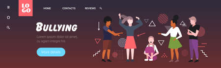 depressed girl being bullied by mix race schoolmates peer violence victim of bullying mocking public disapproval censure concept full length horizontal copy space vector illustration