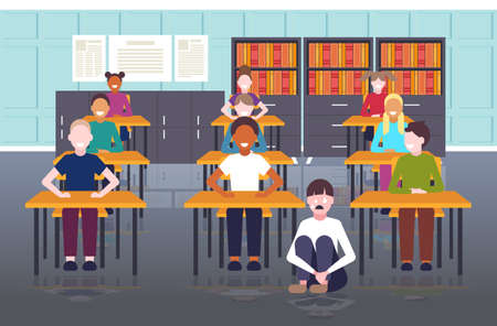 depressed schoolgirl being bullied by mix race schoolmates peer violence victim of bullying mocking public disapproval concept modern school classroom interior full length horizontal vector illustration