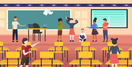 depressed girl student being bullied by mix race schoolmates peer violence victim of bullying mocking public disapproval concept modern school classroom interior full length horizontal vector illustration