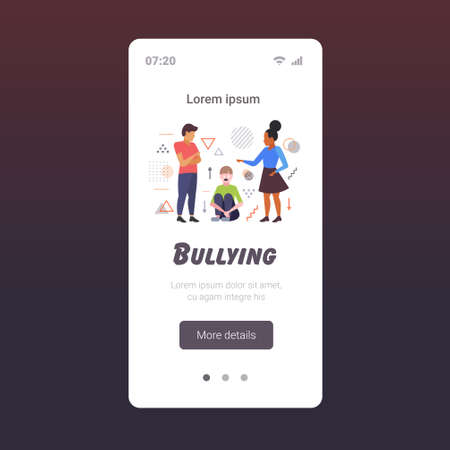 depressed girl being bullied by mix race schoolmates peer violence victim of bullying mocking public disapproval censure concept smartphone screen mobile app full length copy space vector illustration Ilustração