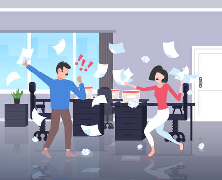 Geschäftsleute, die Papiere werfen Konfliktproblemkonzept Geschäftsmann Frau Paar streiten Kollegen, die Meinungsverschiedenheiten bei der Arbeit bestreiten negative Emotionen Büroinnenraum horizontale Vektorillustration in voller Länge
